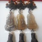 Ngọc bội treo Phật Quan Âm đá mã não khói xám chế hóa hung khí S783