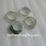 Nhẫn trơn bản nhỏ ngọc Phỉ Thúy Myanmar xanh ngọc vân trắng S962