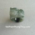 Nhẫn tỳ hưu ngọc đá ngọc Phỉ Thúy Myanmar vân trắng chiêu tài lộc S844